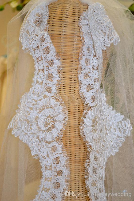 На заказ 1 слой белый Слоновой Кости свадебные аксессуары вуаль свадебные платья кружева свадебные свадебные фата с расческой DH6990