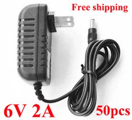 6v dc power supply Canada - High Quality DC 6V 2A Power Supply Adaptor Converter 6V Adapter 50pcs  Lot Free shipping
