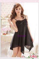 Wholesale Sexy Transparent Nightgowns - Pure and transparent lace sexy temptation of big yards women's dress sexy lingerie sleepwear fat mm