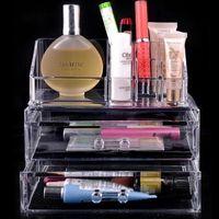 Wholesale Jewellery Cosmetic Organizer - Clear Acrylic Cosmetic Jewellery Organizer Makeup Box Case SF-1063 acrylic makeup organizer 24pcs lot