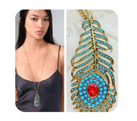 Wholesale peacock diamond necklace - Retro Vintage Bohemian Style Blue Peacock Feathers Pendant Necklace Chain HL28907