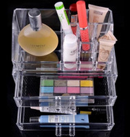 Wholesale Cosmetic Drawers - US stock-Clear Acrylic Cosmetic Jewellery Organizer Makeup Box Case with 2 Drawers SF-1063 free shipping