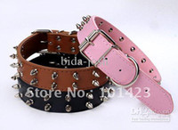 Wholesale Leather Spiked Dog Harness Wholesale - Wholesale - spikes 2 row gunuine leather dog collars 1 1 4inchx22inch free shipping