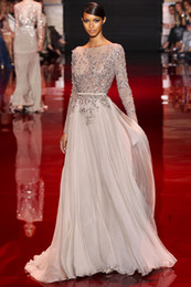 Wholesale Decorated Dresses - Sexy 2014 Distinctive Appliques Beaded Decorated Elie Saab Prom Dresses Bateau Sheer Long Sleeve A-Line Floor-Length Pageant Dresses DH7008