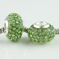 Wholesale European Crystal Spacers - Wholesales 20pcs lot Fashion Peridot Rhinestone Crystal Resin Spacers Big Hole Charm Beads For European Jewelry Bracelets Making 010354