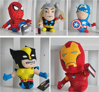 "Wholesale Toys For Men Videos - 7"" 5 pcs lot Spider Man Plush Toys Iron Man Stuffed Dolls Captain America Puppet with Tags for Kids Crafts MA1117"