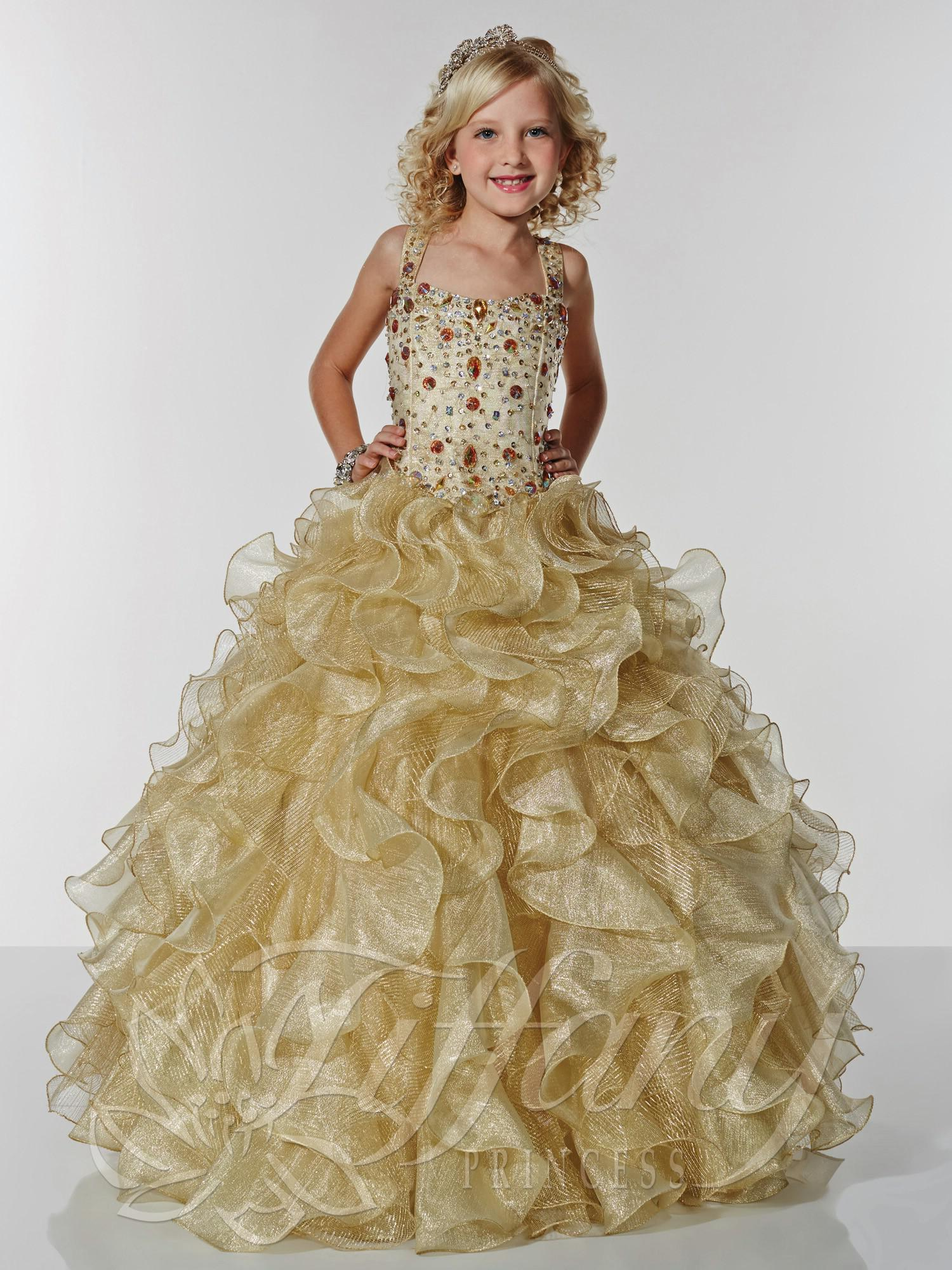 2014 New Hot Golden shiny sweep train spaghetti straps cute girls pageant dresses backless sequins beaded sleeveless ruffles party ball gown