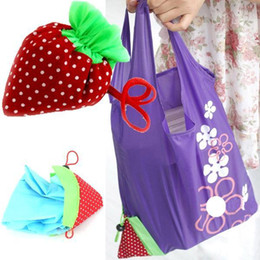 Wholesale Strawberry Reusable Tote - New Arrival AGnylon Strawberry Foldable Reusable Recycle Carrier Tote Bag Women Convenience Shopping Bags PA18 smileseller
