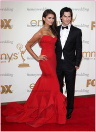 Wholesale Sexy Strapless Purple Mermaid Dress - Actual Image Sexy Red Nina Dobrev mermaid sweetheart strapless Emmy Awards Celebrity Dresses DH7024