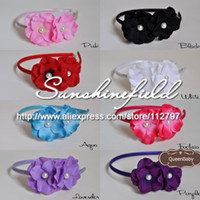 Wholesale Double Flower Baby Headbands - Double Hydrangea Pearl Center Flower Ribbon covered Metal Headband Baby Girl headband 40pcs lot QueenBaby Trial Order