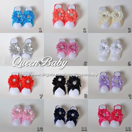 Wholesale Barefoot Trail - Baby Barefoot Sandals with chiffon Flower Rhinestone Center Nylon Newborn Photography Props 30set lot QueenBaby Trail Order