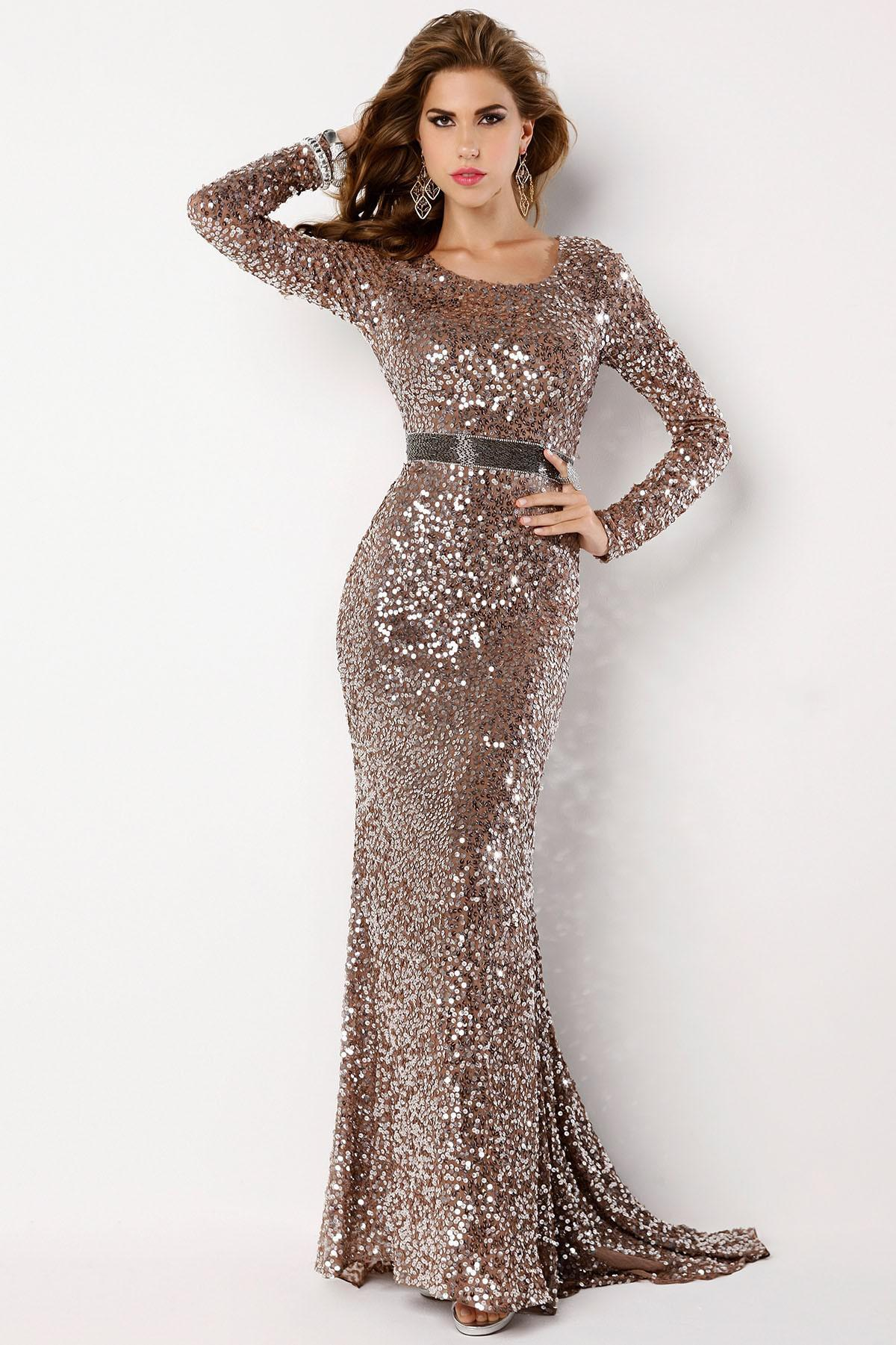 2014 New Sexy Blingbling Rhinestones chocolate Sequins dress Long sleeves Backless evening dresses Sheath Pageant dresses