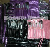 pinceaux de maquillage cheveux violets achat en gros de-7 Pcs PRO MAQUILLAGE BROSSE SET BROSSES COSMÉTIQUES CHEVEU DE CHÈVRE Noir / Rose / Argent / Or / Violet Sac en cuir Pochette NEW * Haute qualité!