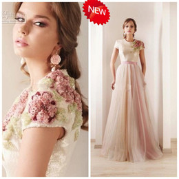 Wholesale Real Picture Zuhair Murad - 2015 Zuhair Murad Prom Dresses Real Sexy Strapless Applique Sheath Short Sleeve Beaded A-line Formal Gown Evening Dresses Prom Dress JY018