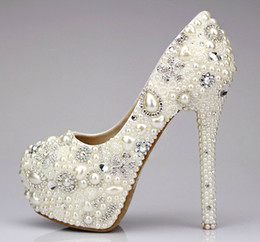 Wholesale Crystal Prom Heels - Sweet Pearl Crystal Beaded Round Toe lady's formal shoes Women's High Heels Beaded Bridal Evening Prom Party Wedding Dress Bridesmaid Shoes