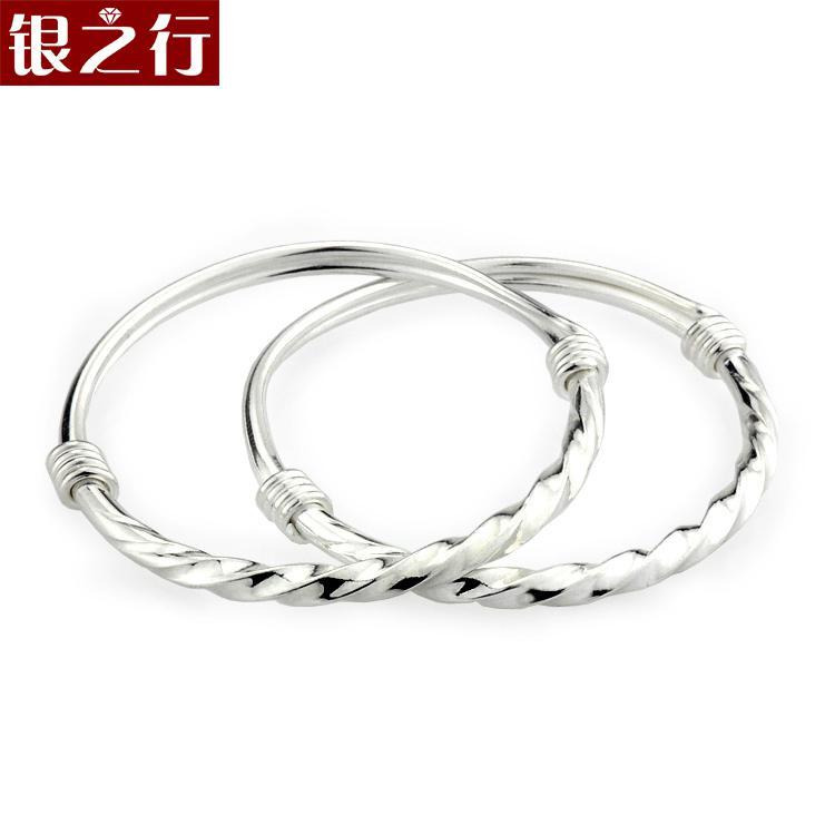 Silver 990 fine silver baby baby boy twist spiral bracelet for Baby jewelry near me