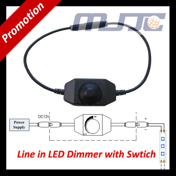 12V DC 2A 24W Line in Single Color LED dimmer with knob switch ON/OFF + Male Female DC Connectors LED Strip to Power Supply