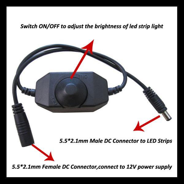 12V 24W Line en un solo color Dimmer LED con interruptor de perilla ON / OFF puede lograr una atenuación continua de 0-100% para lámpara LED Luz de tira LED