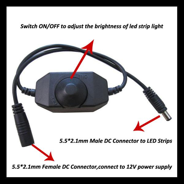 Promotion 12V 24W Line in Single Color LED dimmer with knob switch ON/OFF stepless dimming from 0-100% for LED Lamp Strip Light
