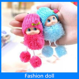 Wholesale Wholesale Cloth Dolls - Fashion Doll mobile phone chain pendant plush doll toy cute gift free shipping