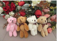 Wholesale Chose Doll - 4Color Choose H=8cm Cartoon Joint Bow Tactic Bear Plush Pendants Toys Dolls For Wedding Key Phone Bag Wholesale 60pcs lot