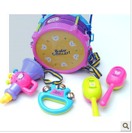 Wholesale Musical Instrument Toy Set - Free shipping Kids Children Toy Gift Set 5pcs Roll toy Drum Musical Instruments Band Kit 8840