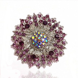 Wholesale Rhinestone Lilacs Brooches - Vintage Look Large Size Lilac Rhinestone Crystal Flower Prom Party Brooches