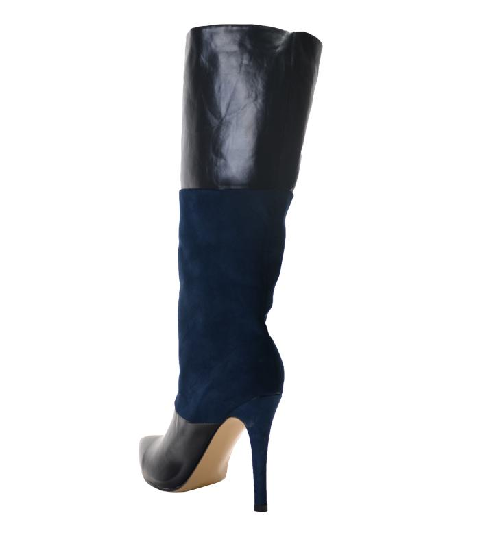 2018 new fashion boots pointed toe mixed color thin heel knee boots zapatillas spike high heels winter women motorcycle boots women shoes