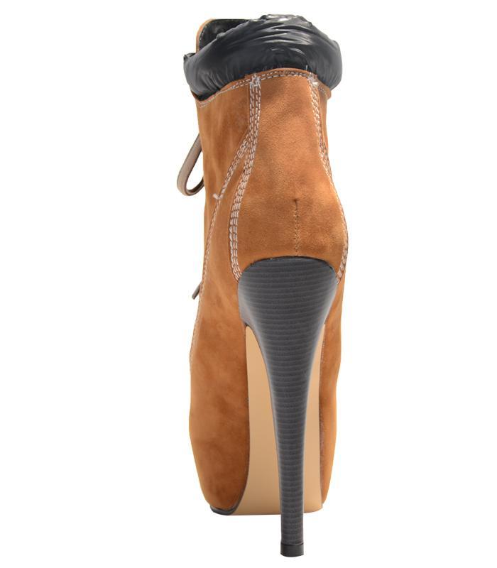 2018 neue große größe mode stiefel runde zehen schnüren sapato high heels plattform winter frauen Cowboystiefel stiefeletten frauen schuhe botas