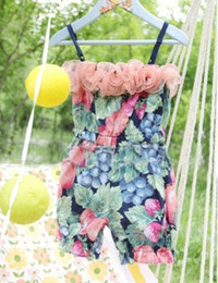 Wholesale Childrens Flower Tops - Wholesale 2014 new spring summer babys girls Childrens fashion Baby One-Piece & Romper top flower printed shots green TT-366-3