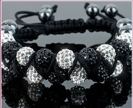 Wholesale Wholesale Cheap Rhinestone Jewelry - New Style!10mm Two row best cheap Hot White disco Ball Beads Bangles VSD Crystal Shamballa Bracelet jewelry Christmas Gift