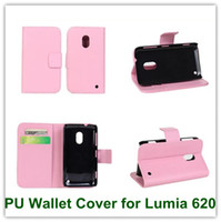 Wholesale Buy Card Id - Hot Sales Pink PU Wallet Mulit Stand Back Cover Case for Nokia Lumia 620 With ID Card Holder Free Shipping