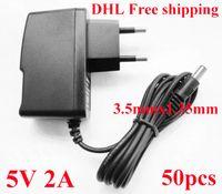 fuente de alimentación de ca dc 48v al por mayor-Alta calidad AC DC 5V 2A Adaptador de alimentación Fuente 5V 3.5mm x 1.35mm Adaptador de corriente UE Europa - EE / EE. UU. Enchufe 50 unids / lote envío gratis