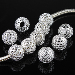 Wholesale Silver Spacer Ball Beads - Wholesale 100pcs lot Fashion Silver Plated Net Ball Spacer Big Hole Charm Beads Fit DIY European Bracelets 9x9mm 020175
