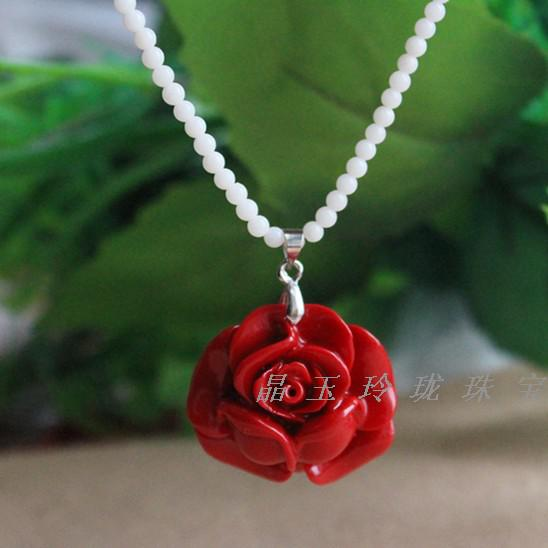 Wholesale imitation red coral rose pendant necklace long sweater wholesale imitation red coral rose pendant necklace long sweater chain natal girlfriend valentines day gift for her mother amethyst necklace necklaces for mozeypictures Image collections