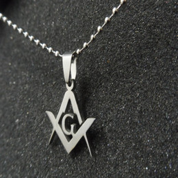 stainless steel masonic pendants 2020 - Lot 10pcs New Men's Masonic emblem Necklace Pendant stainless steel Jewelry USA free chain cheap stainless steel masonic