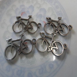 Wholesale Gold Filled Findings - Lot 10pcs bicycle charms stainless steel pendant necklace Jewelry finding for DIY silver High polished accessories