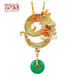 Wholesale Long Swarovski Necklace - Molly Genuine Swarovski Elements crystal necklace long paragraph sweater chain ornaments Chinese style Dragon woman