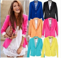 Wholesale Slimming Batch - Retail Free shipping HOT!! Women's A Buckle Slim Casual Candy Colors Suit Jacket Blazer XS S M L XL Mixed Batch 6 color