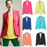 Wholesale Casual Cotton Blazer Womens - Retail Tops Fashion Womens Suit Tunic Foldable sleeve candy Color lined striped Blazer Jacket shawl cardigan Coat one button