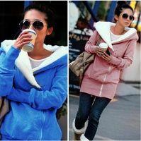 Wholesale long zip hoodie - Retail free shipping Women ' s Upper Garments - female Plush Hat Lapel slant Zip Fleece Hoodies & Sweatshirts