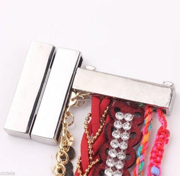 30set large bracelet magnétique avec fermoir aimanté rectangulaire large plaqué argent 30set