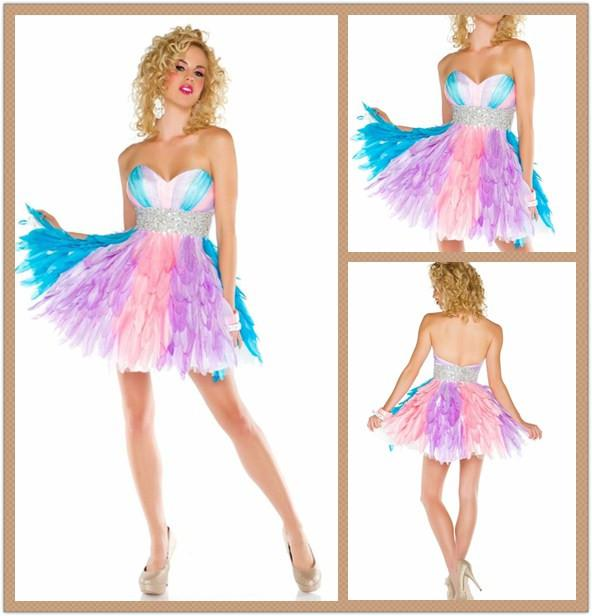 2016 funky multi colored feathers cocktail dresses beaded belt