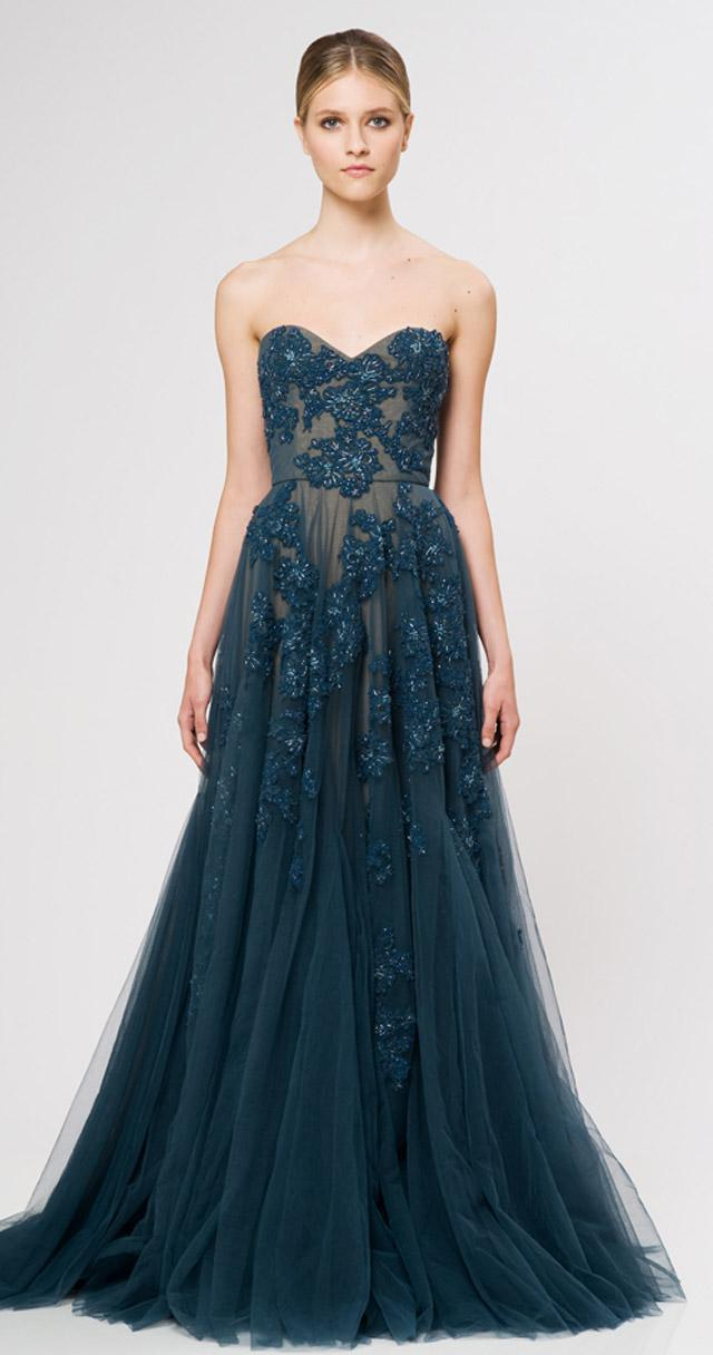 Reem Acra Evening Dress Applique Pleat Organza Floor Length Applique ...