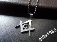 Wholesale Masonic Necklaces - New 1.2 in tall Fashion stainless steel Masonic pendant necklace DHL ship free