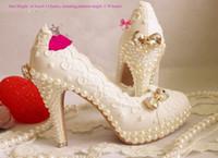 Wholesale High Low Diamond Wedding Dress - Pearl sparkling diamond wedding shoes handmade Lace wedding shoe pearl shoes wedding dress formal high low heel dress shoe white Color