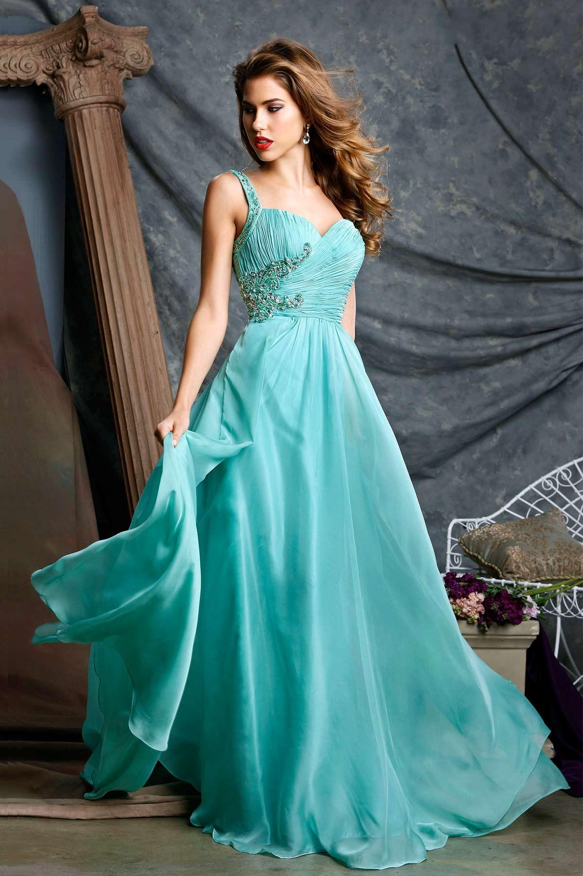 On Sale ! 2014 New Sexy Light Sky Blue Spaghetti Strap Chiffon Prom Dresses Beads Rhinestones Long Length A-line Evening Gowns