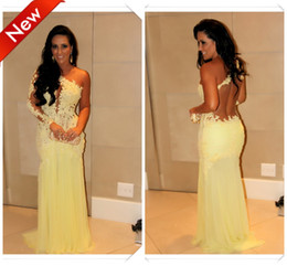 Wholesale Dresses Formales - Vestidos Formales 2014 Marianne Rabelo Nascimento Sexy One Shoulder SeeThrough Lace Yellow Mermaid Prom Evening Dress Celebrity Dress AG157