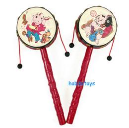 tambores de brinquedo chineses Desconto Chinês tranditional mão tambor rattle-drum Little tambor mão balançando pandeiro bebê agitando tambor brinquedos 30 pçs / lote