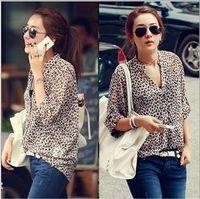 Wholesale Stand Up Collar Shirts - Retail free shipping Korea Style Leopard Print V Neck Turn-up Cuff Thin Long Sleeve Chiffon Shirt